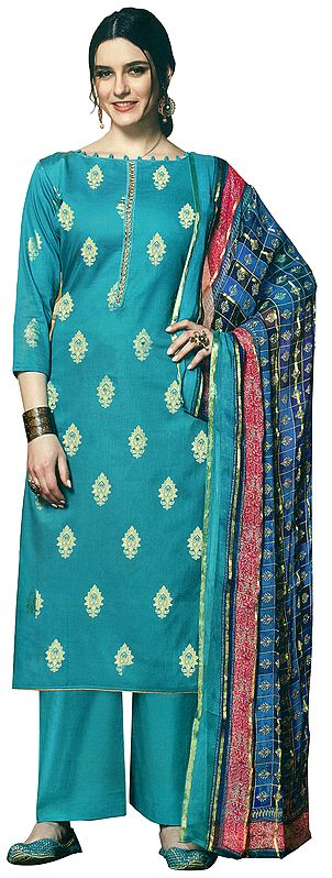 Bluebird Salwar Kameez Suit - Boat-Neck Kameez with Golden Motives, Sequins and Mirror Work  along with Palazzo and Woven Dupatta