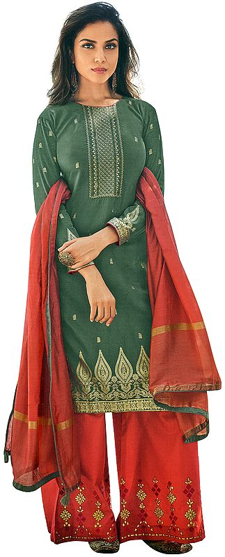Dark Forest-Green Palazzo Salwar Kameez Suit -Embroidered Kameez with Red Palazzo and Woven Dupatta