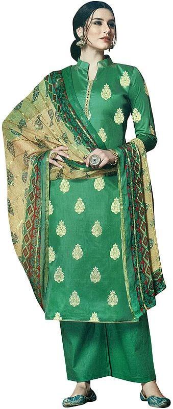 Pine-Green Palazzo Salwar Kameez Suit with Standing-Collar and Golden Motifs