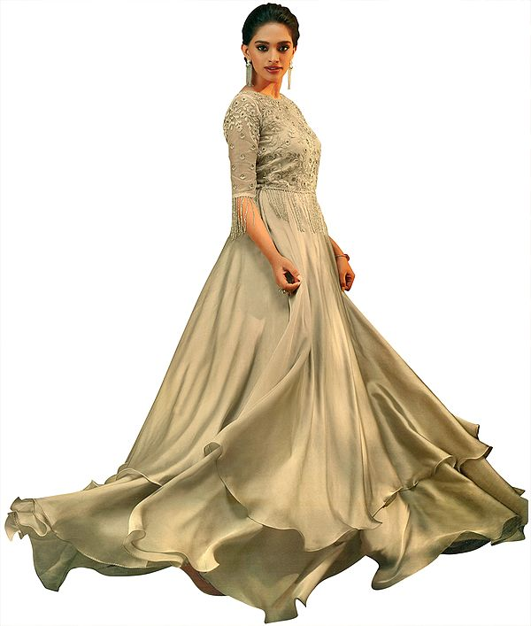 Almond-Peach Floor-Length A-Line Gown with Zari-Embroidered Border and Hanging Long Glass Beads