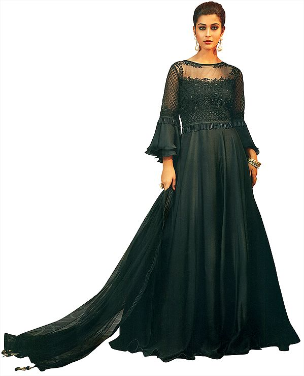 Jet-Black Long Gown Suit with Embroidered Flowers,  Sequins and Beadwork