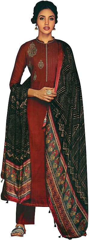Crimson-Red Palazzo Salwar Kameez Suit with Self Design and Zari Embroidery
