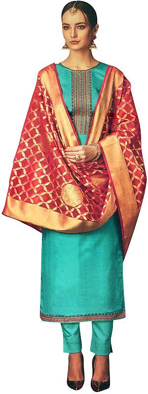 Lake-Blue Long Trouser Salwar-Kameez Suit with Embroidery on Neck and Banarasi Dupatta