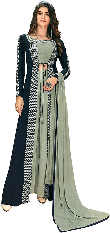 Oceana-Blue Flared Palazzo Fusion Salwar Suit with Zari-Embroidered Shrug,Choli and Dupatta