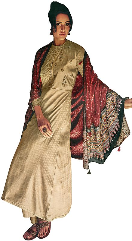 Hazelnut Palazzo Salwar Kameez Suit with Zari Embroidery and Printed Tasseled Dupatta