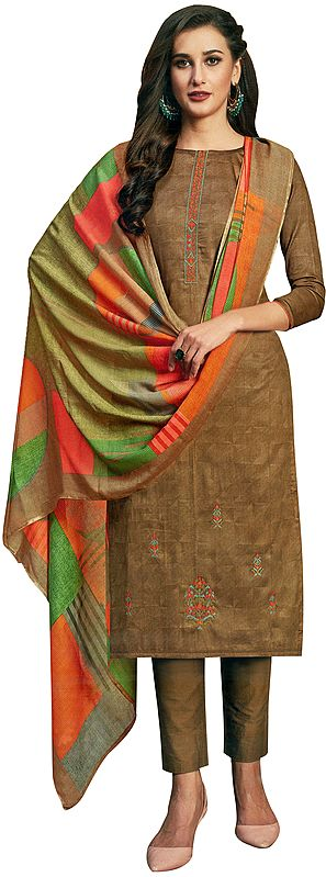Cinnamon-Brown Long Trouser Salwar-Kameez Suit with Embroidery and Multicolor Printed Dupatta