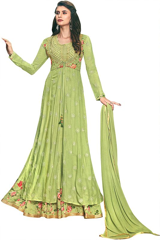 Beechnut-Green Flared Printed Gown with Heavy Zari and Beads Embroidered Kameez and Dupatta
