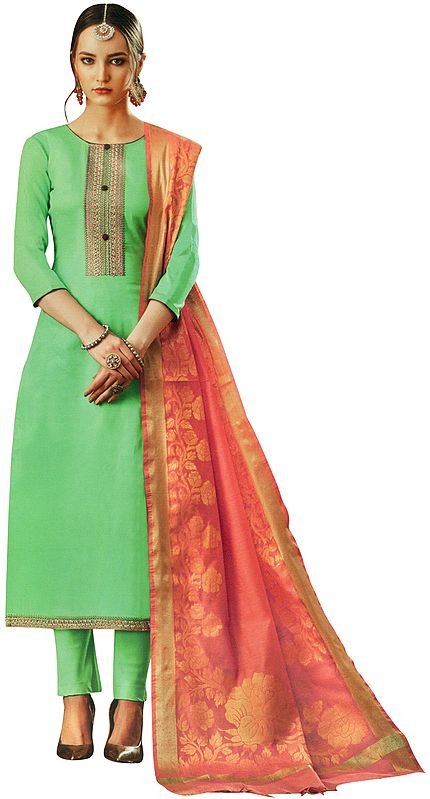 Spring-Green Salwar Kameez Suit with Embroidery on Neck and Pink Banarasi Woven Dupatta