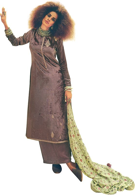 Nostalgia-Rose Long Palazzo Kameez Suit with Zari-Embroidery and Floral Dupatta