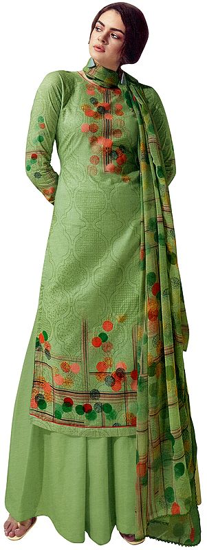 Quiet-Green Digital Printed Palazzo Lawn Salwar- Kameez Suit with Chiffon Dupatta