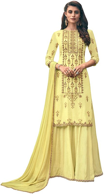 Pear-Sorbet Flared Palazzo (Sharara) Salwar Kameez Suit with Heavy Zari and Beaded Embroidery