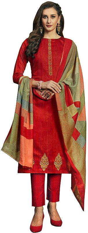 Salsa-Red Long Trouser Salwar-Kameez Suit with Embroidery and Multicolor Printed Dupatta