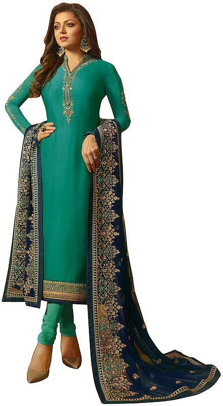 Ocean Floor-Green Choodidaar Salwar-Kameez Suit with Floral Zari-Embroidery and Green Chiffon Dupatta