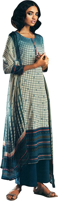 Corsair-Blue Digital Printed Palazzo Salwar- Kameez Suit with Dupatta