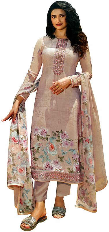 Mauve-Chalk Floral Printed Salwar-Kameez Suit with Embroidery on Neck and Chiffon Floral printed Dupatta