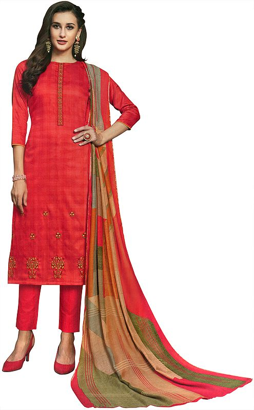 Calypso-Coral Long Trouser Salwar-Kameez Suit with Embroidery and Multicolor Printed Dupatta