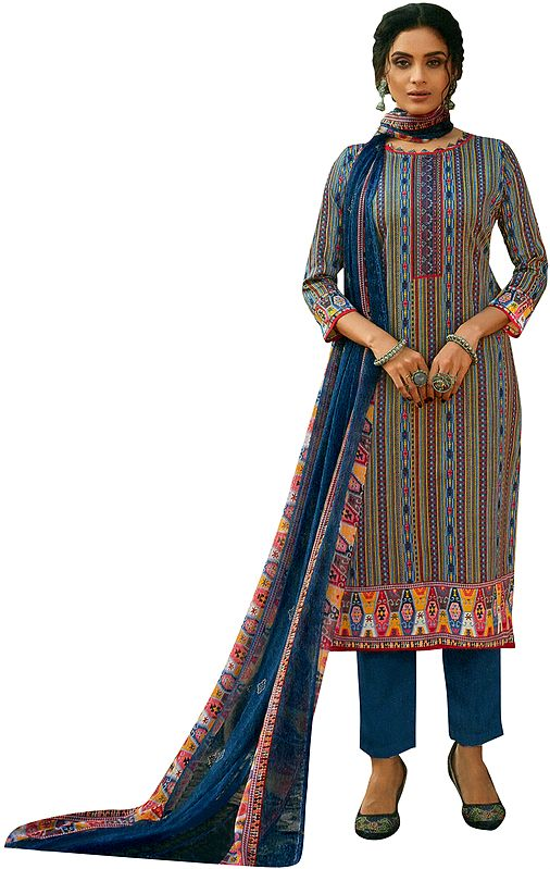 Sailor-Blue Salwar Kameez Suit- All Over Printed Kameez with Long Trousers and Printed Dupatta