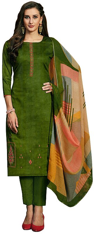 Treetop-Green Long Trouser Salwar-Kameez Suit with Embroidery and Multicolor Printed Dupatta