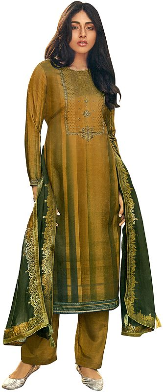 Bronze-Brown Palazzo Salwar- Kameez Suit with Zari-Embroidery and Gray Woven Dupatta