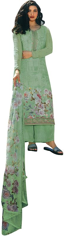 Pastel-Green Floral Printed Salwar-Kameez Suit with Embroidery on Neck and Chiffon Floral printed Dupatta
