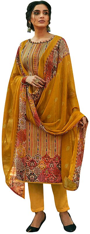 Sunflower-Yellow All-Over Printed Kameez with Long Trousers and Printed Dupatta