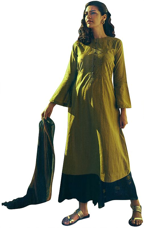 Willow-Green Long Embroidered Palazzo Kameez Suit with  Floral Printed Dupatta