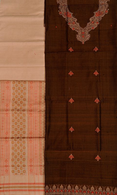 Brown and Beige Bomkai Salwar Kameez Fabric from Orissa with Woven Bootis