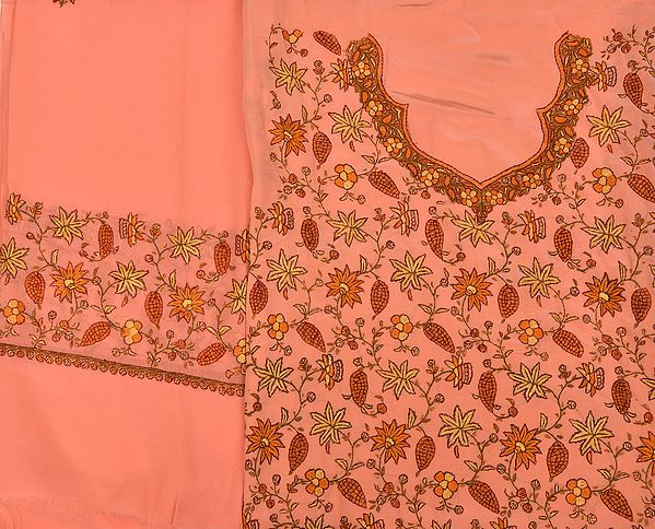 Peach-Pink Kashmiri Salwar Kameez Fabric with Floral Needle-Embroidery by Hand