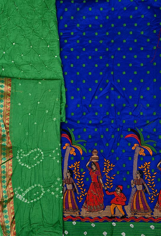 Blue and Green Salwar Kameez Fabric from Gujarat with Embroidered Folk Motifs and Bootis