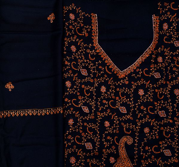 Midnight-Blue Kashmiri Tusha Salwar Kameez Fabric with Sozni Hand-Embroidery All-Over