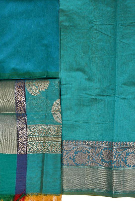 Plain Banarasi Salwar Kameez Fabric with Zari-Woven Floral Border