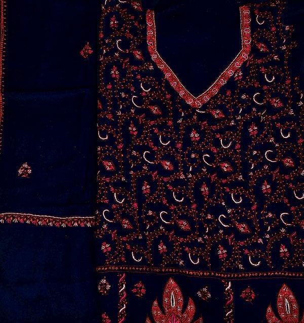 Eclipse-Blue Kashmiri Tusha Salwar Kameez Fabric with Sozni Embroidery by Hand