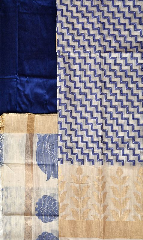 Salwar Kameez Fabric from Banaras with Zigzag Weave and Golden Leaves