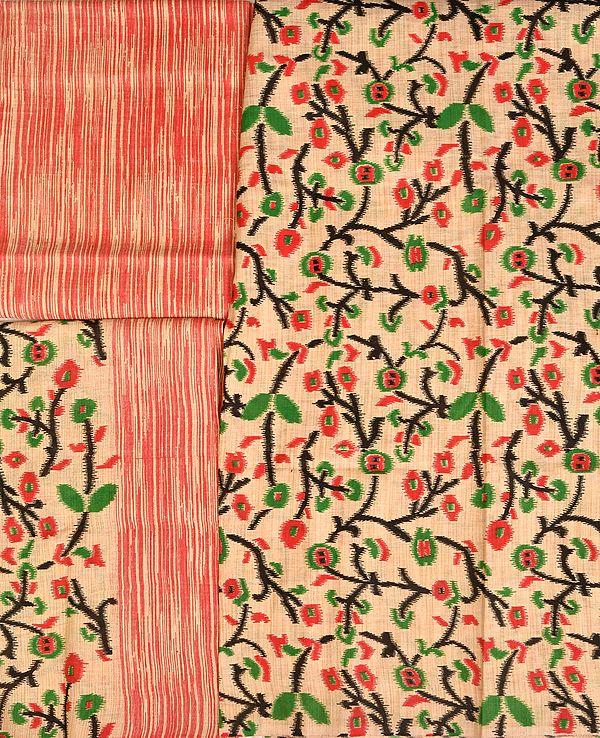 Salwar Kameez Fabric with Foliage Print