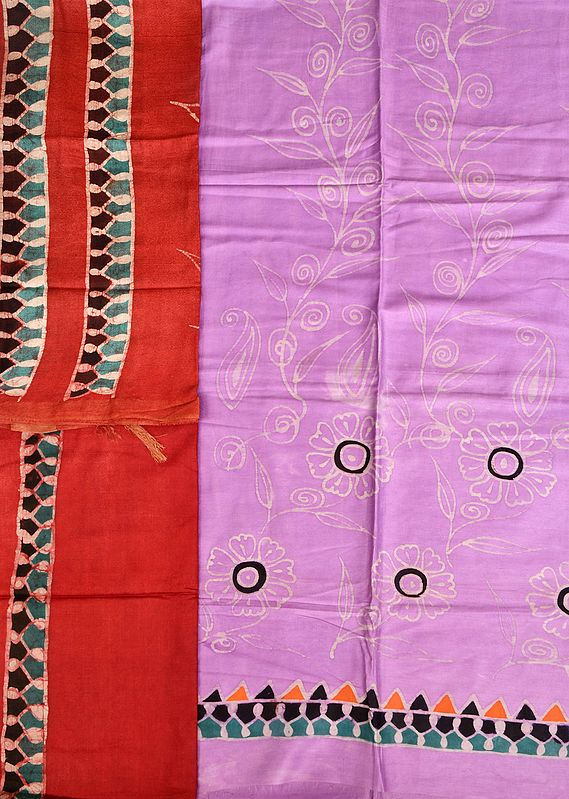 Lavendula and Rosewood Salwar Kameez Fabric with Floral Print and Temple Border