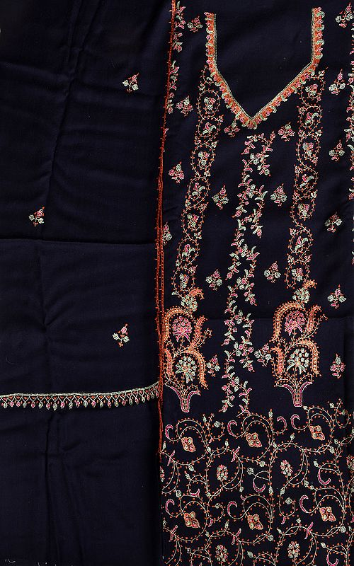 Eclipse-Blue Kashmiri Tusha Salwar Kameez Fabric with Sozni Hand-Embroidery