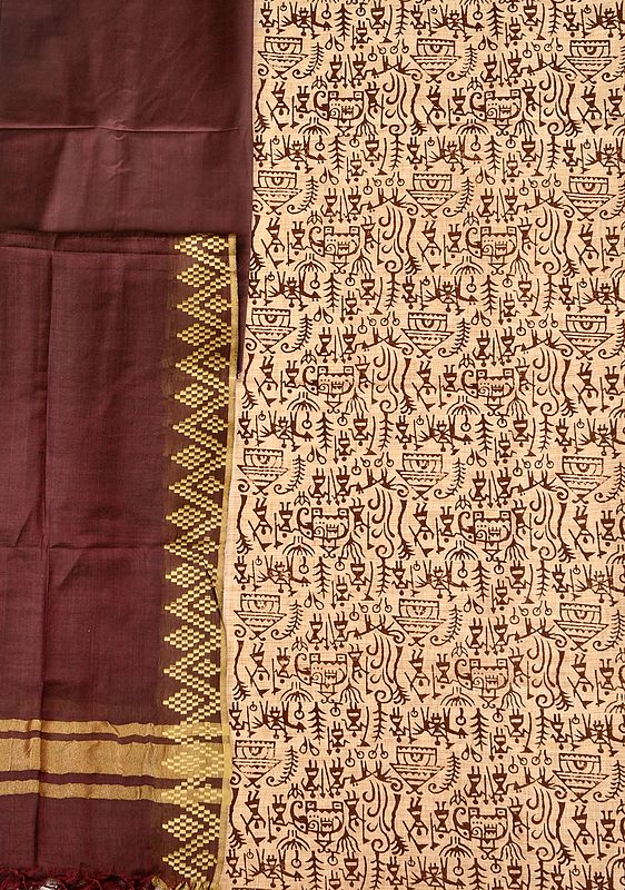 Off-White and Chocolate Salwar Kameez Fabric with Printed Warli Folk Motifs
