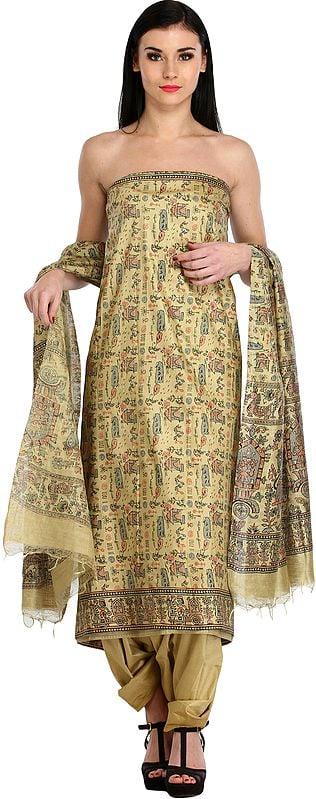 Pale-Khaki Salwar Kameez Fabric with Printed Warli Folk Motifs
