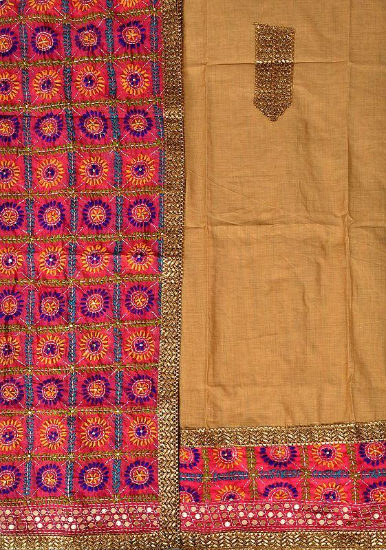 Phulkari Salwar Kameez Fabric from Punjab with Hand-Embroidery and Sequins