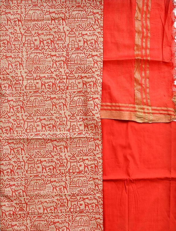 Cream and Red Salwar Kameez Fabric with Printed Warli Folk Motifs