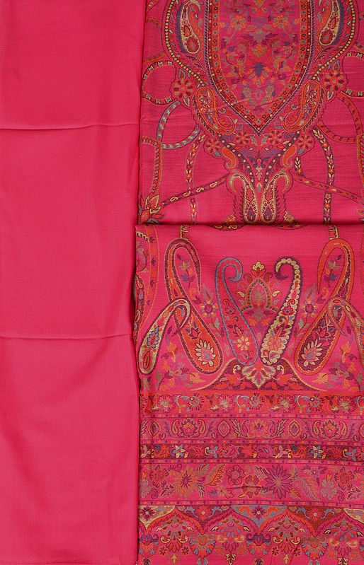 Raspberry-Sorbet Kani Jamawar Salwar Kameez Fabric