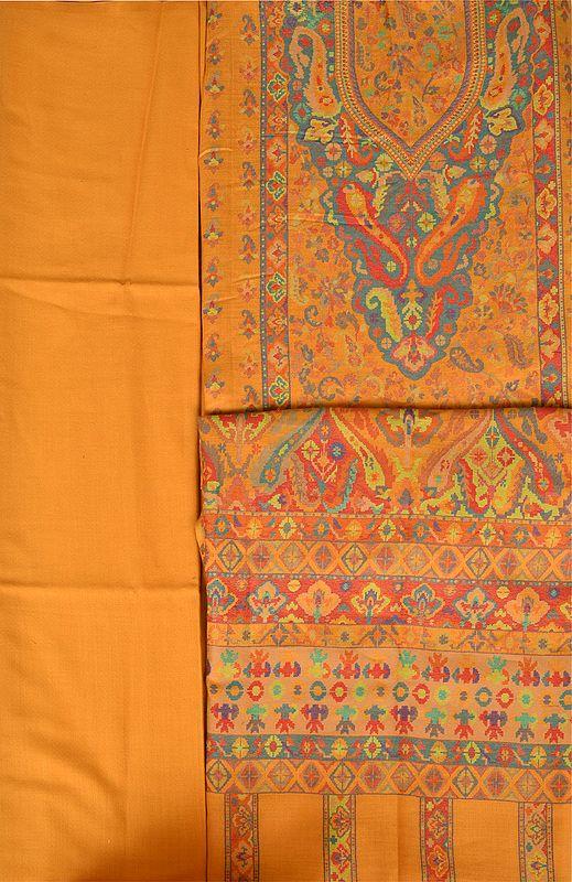 Honey-Gold Jamawar Salwar Kameez Fabric with Kani Weave