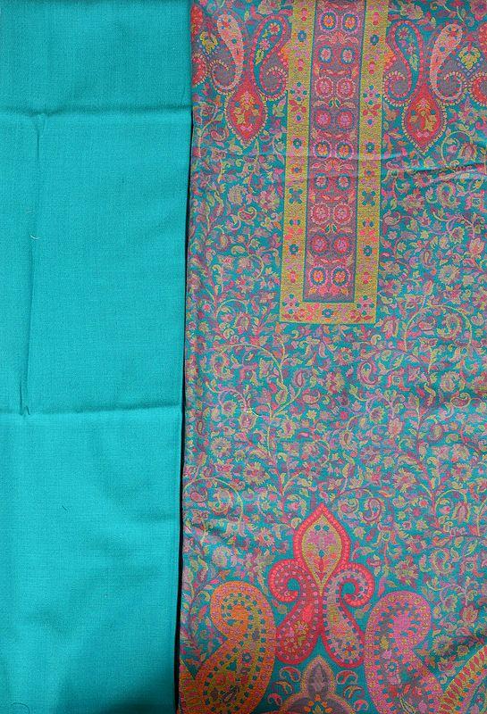 Capri-Breeze Jamawar Salwar Kameez Fabric with Kani Weave