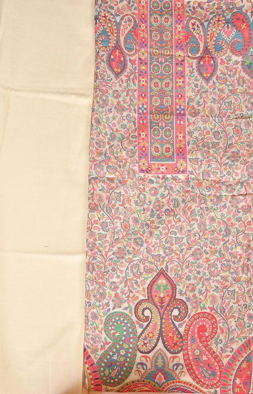 Cream Kani Jamawar Salwar Kameez Fabric with Woven Paisleys