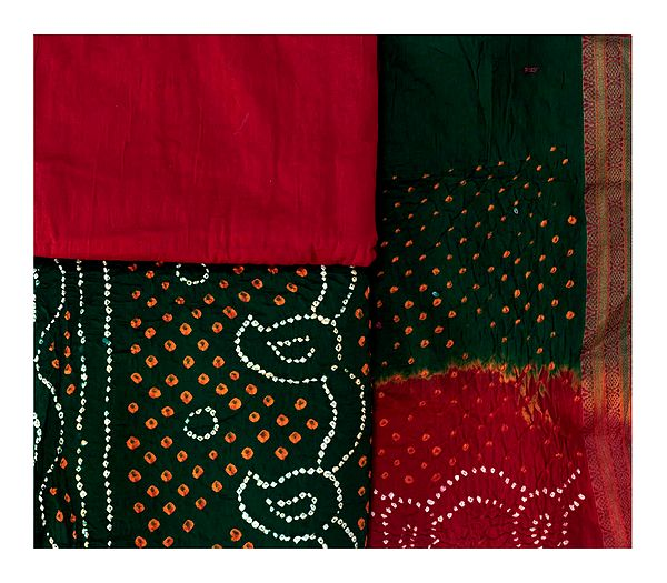 Bandhani Tie-Dyed Salwar Kameez Fabric from Gujarat with Paisleys and Woven Border