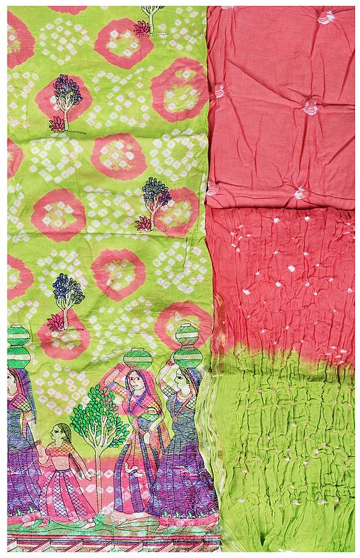 Salwar Kameez Fabric from Gujarat with Embroidered Lady Figures and Bandhani Dupatta