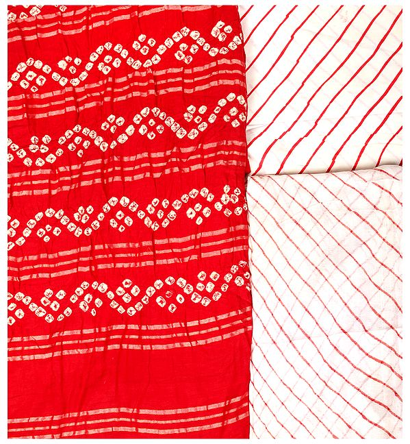 Bandhani Tie-Dye Salwar Kameez Fabric from Gujarat with Woven Stripes
