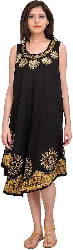 Printed Dress with Batik Flowers and Threadwork