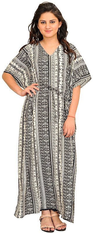 Black and White Printed Kaftan with Waist Sash