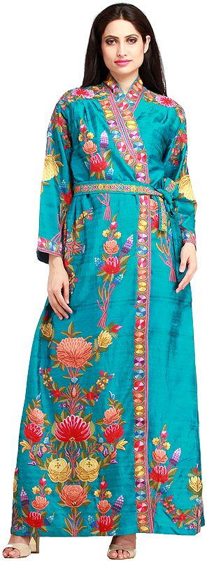 Algiers-Blue Robe from Kashmir with Ari Floral-Embroidery by Hand